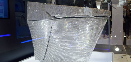 A flush toilet decorated with 72,000 Swarovski crystals is on display at the stand of INAX of Japanese bathroom fittings maker LIXIL during Kitchen & Bath China 2015 in Shanghai, China June 3, 2015.A glittering high-end flush toilet decorated with tens o